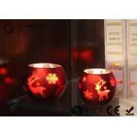 Wholesale painted ball shape glass candle holder with laser picture with LED tealight from china suppliers