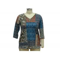 Buy cheap Stone Patterned Ladies Casual T Shirts Dressy Womens Tops 200gsm Fabric Weght from wholesalers