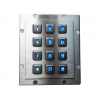 Blue backlighting industrial metal keypad with 4 x 3 and USB interface for kiosk