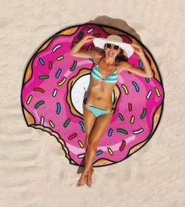 Cheap Price Low MOQ custom design print  $5 per piece round donut beach towel Manufactures