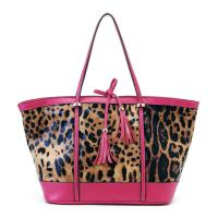 Buy cheap Zippered Pink Leather Totes Handbags Leopard Print , Diagonal & Stylish from wholesalers