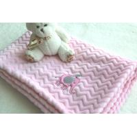 China Factory Wholesale Pink Color Embroidered Baby Blankets for Kids