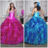 Wholesale 2012 New Sexy Strapless A-Line Sheath Jacket Flower Paillette Beaded Ruffle Taffeta Quinceanera Dresses (QD-029) from china suppliers