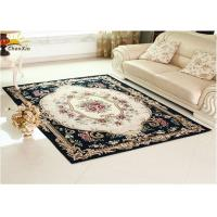 Rectangle Living Room Floor Rug Synthetic Fiber Material Embroidery Pattern