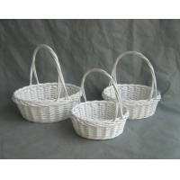 Buy cheap White willow flower basket with handle from wholesalers