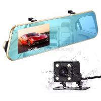 Buy cheap Double lens rearview mirror 4.3 inch vehicle recorder 1080P high-definition night vision parking control from wholesalers