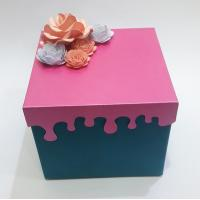 Wholesale Rouge Red Small Mini Suitcase Gift Box With Handmade Fold Flower Lid flat pack gift boxes from china suppliers