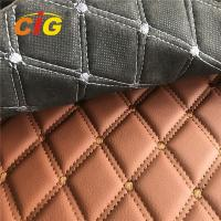 Buy cheap Car Seat Car Floor Embroidery PVC leather with Black Foam and Black Non-woven Backing from wholesalers