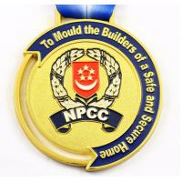 Wholesale Swimming Medal Round Donuts Shape Medal Antique Cooper Medal with Hollow out Through Ribbon for Government from china suppliers