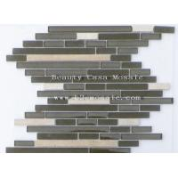 Buy cheap Strip Marble Mix Brown Glass Mosaic Tile Canada Hit Iitem from wholesalers