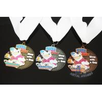 Wholesale Soft Enamel Sports Medals And Ribbons With Black Nicekl Plating , Sublimated Ribbon from china suppliers