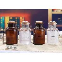 Buy cheap Cork And Iron Handle Glass Candle Jars For Light Bulb / Brown Glass Container from wholesalers