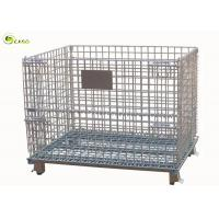 Buy cheap Metal Fold Galvanized Storage Turnover Cage Warehouse Racking Wire Mesh Shelves from wholesalers