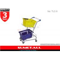 Buy cheap High Grade Steel Supermarket Shopping Trolley Cart For Two Plastic Baskets from wholesalers