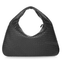 Buy cheap Custom Make Genuine black leather hobo bags , Nappa Leather Woven Bag Suede Lining from wholesalers