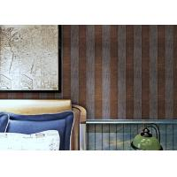 Buy cheap Embossed Contemporary Wall Coverings with Vertical Stripes Pattern , Coffee and Black from wholesalers