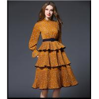 Buy cheap fashion polyester print layered skirt fringed dress medium style from wholesalers