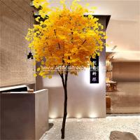 Wholesale Slender Yellow Branch Leaf Artificial Ginkgo Tree Gold Plant For Road Decoration from china suppliers