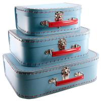 Buy cheap Customized Gift Boxes, Childrens Paper Suitcase Blue Color Embossed, Gloss Finishing from wholesalers