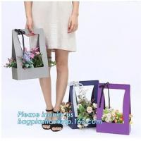 Buy cheap Custom paper bag with handle coated white paper bag printing pattern flower carrier bag,Flower carrier paper bags with d from wholesalers