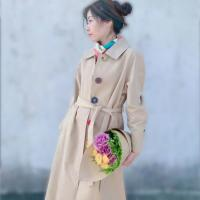 Buy cheap Sigle-Breasted Trench Coat Women Spring Autumn Long Belted Colorful Button Coat from wholesalers