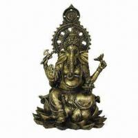 Buy cheap Polyresin Sitting Ganesh Statue with Lotus and Antique Finish, Available in Gold from wholesalers