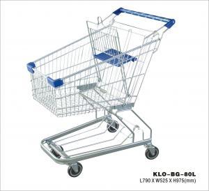 Modern Supermarket Shopping Trolley With 4 Swivel Flat Bearing Blue Pu Wheel