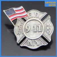Buy cheap Antique finish USA flag NEW YORK FIRE DEPARTMENT N.Y.F.D 911 lapel pins from wholesalers