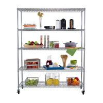 Buy cheap 5-Tier Kitchen Storage Organizer Wire Shelving Unit Adjustable Metal Shelf Rack from wholesalers