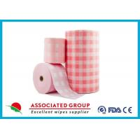 Pink Checked Pattern Spunlace Nonwoven Rolls Soft & Lint Free Manufactures