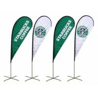 Buy cheap Custom Printed Blue And White Advertising Flag Banners Bow for Starbucks CE SGS from wholesalers