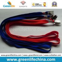 Buy cheap Plain blue red double cotton lanyard with nickle plated bulldog clip and crimp withou printing from wholesalers