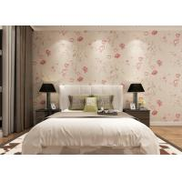 Buy cheap Eco - friendly Light Pink Country Floral Wallpaper , Bedding Room Vinyl Wall Coverings from wholesalers