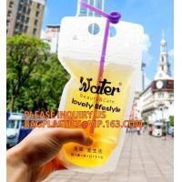 Buy cheap stand up reclosable drinking pouches cold drink Ziplock bag with straw,Beveragereusable Kids Snack Zip Lock Juice Drink from wholesalers