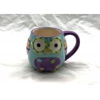 Lovely 3D Ceramic Mug Great Blue And Purple Owl Coffee Travel Mug OEM / ODM Available