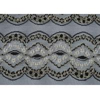 Breathable Black Elastic Lace Fabric , Wedding Dresses Lace Fabric CY-DK0009 Manufactures