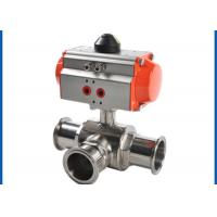 Buy cheap 3 Way Sanitary Ball Valve , Pneumatic Actuated Ball Valve Welded Connection Type from wholesalers