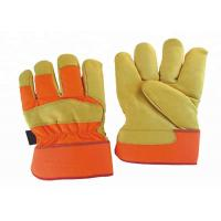 Buy cheap Wear Resistant Leather Safety Work Gloves Elastic Closure Sewn Inside from wholesalers