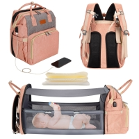 Wholesale 5 In 1 Diaper Bag Backpack Portable Crib Mummy Bag Bed Waterproof Travel Bag With USB Charge Baby Changing Bag from china suppliers