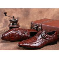 Mens Single Monk Strap Shoes , Moc Toe Dress Shoes With Embossed Crocodile Pattern