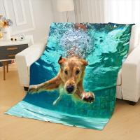 Buy cheap 3D Dog Sherpa Blanket on Beds Animal Fur Throw Blanket for Adults Brown Gray Bedding mantas para cama from wholesalers