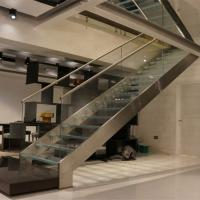 Wholesale First floor stairs design with double beam glass balustrade design from china suppliers