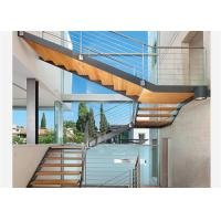 Buy cheap Straight Mild Steel Glass Modern Floating Staircase Prefab Steel Wood Straight Staircase from wholesalers