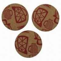 Wholesale Printed Cork Coasters with 6mm Thickness, Customized Designs are Accepted from china suppliers