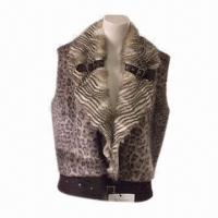 Buy cheap Women's winter fake fur waistcoat, made of printed leopard fake fur, collar and placket w/ pheasant from wholesalers