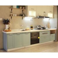Buy cheap 2019 affordable modern green shaker particle board kitchen cabinets wall cabinets with PVC doors design from wholesalers