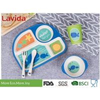 Buy cheap Food Grade Eco Bamboo Childrens Dinner Set 5 pcs Set with 4-sections Plate Glass Fork and Spoon Shatter-proof Reusable from wholesalers