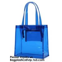 Buy cheap Beach Bag Clear PVC Bag Tote With Inner Pocket And Zipper Closure,PVC Bag Beach Tote With Black Handles, Bagease from wholesalers