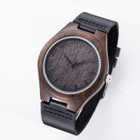 Buy cheap Wood Face Watch With Leather Band / Miyota Movement Leather Watches For Men from wholesalers
