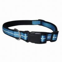 Wholesale Nylon dog collars, padded with neoprene, reflective stitching makes the dog safe at night from china suppliers